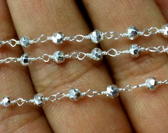wholesale 5 Feet Silver pyrite Beaded Chain - Silver Plated Wire Wrapped Chain - Faceted Rosary Beaded Chain 3-4mm