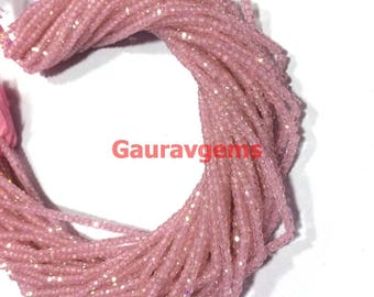 "5 strand Rose Quartz Color Cubic Zirconia Beads 3mm-3.5mm, Rondelle faceted beads 13""inch strand Free ship"