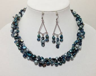 Blue Green Teal Ocean, Shells and Cultured Freshwater Pearls, Glass, Non-Tarnish Silver Plated Wire, Wire Crochet, Necklace Earrings