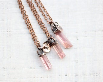 Raw Pink Tourmaline Necklace Copper Jewelry Electroformed Jewelry Pink Tourmaline