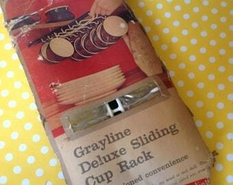 Sliding cup rack, Grayline cup rack, NOS cup rack, mug holder, mug rack, kitchen space saver, new old stock, glamping storage