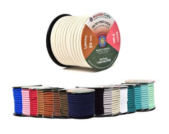 Mandala Crafts 5mm Micro-Fiber Faux Leather Suede Cord, 50 Yards, 150 Feet