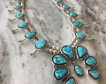 REDUCED was 2800!!!!All Natural Turquoise Mountain Squash Blossom Necklace with Shadow Box Trim Navajo