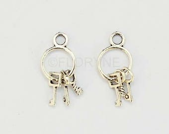 2 pendants charms silver Metal keys keyrings