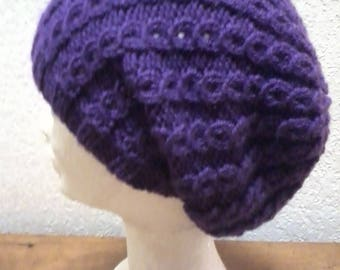 HAT, SLOUCHY BEANIE, SLOUCH, FANCY COLOURS VIOLET