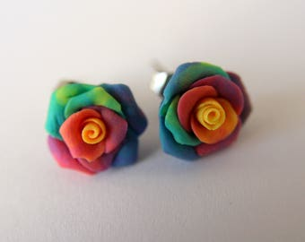 Rainbow rose stud earrings.  Clay, cold porcelain, colourful flower, gift for bridesmaids, wedding favors
