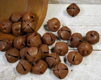 """20mm Rusty Tin Jingle Bells - pkg of 36 --- Primitive bells 3/4"""""""