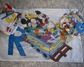Vintage Mickey and Friends with Alphabet Twin Sheet Set and Pillowcase