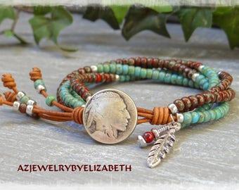 Native American Jewelry/ Seed Bead Leather Wrap Bracelet Native American Style/ Beaded Leather Wrap/ Seed Bead Bracelet/ Leather Bracelet.