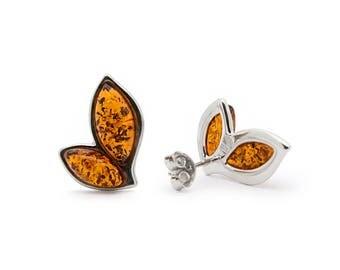 Amber Leaf Earrings - Leaf Stud Earrings - Leaf Earrings - Silver Leaf Earrings - Amber Earrings - Leaf Studs - Leaf Jewelry -442E1