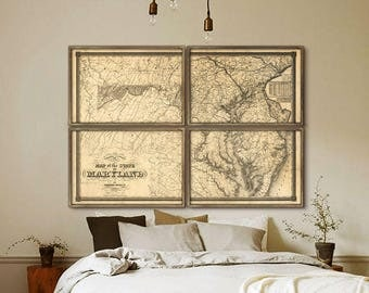 """Maryland map 1841, Large old map of Maryland, in 5 sizes up to 72x48"""" MD state map in 1 or 4 parts, also in blue - Limited Edition of 100"""