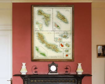 "Map of Dutch Antilles 1914, Old map of Aruba, Curacao, St Maarten, in 4 sizes up to 36x48"" (90x120 cm) Also in blue - Limited Edition of 100"