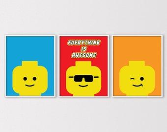 Lego Art, Lego Prints, Lego Birthday Party Printables, Lego Party Printables, Lego Wall Art, Lego Heads, Lego Nursery Art, Insant Download