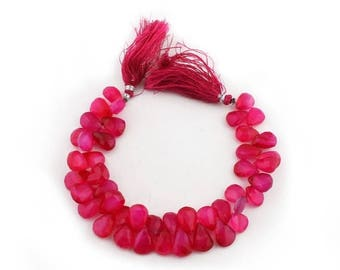 Christmas in July 1 Strand Hot Pink Chalcedony Faceted Pear Drop Briolettes - Pink Chalcedony Beads 12mmx9mm-16mmx10mm 8 Inch SB3083