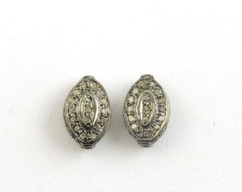 March Sale 1 Pc Pave Diamond Marquoise Antique Finish Designer Beads 925 Sterling Silver - 11mmx7mm PDC503