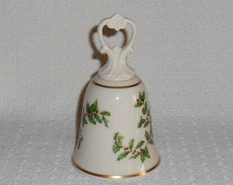 Lenox China Holiday Pattern Porcelain Dinner Bell Christmas Theme Green Holly with Red Berries