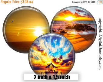 SALE 50% Digital Collage Sheet sunset 2 inch 1.5 inch Printable circle images for Pocket Mirrors Magnets Labels Pendant Gift