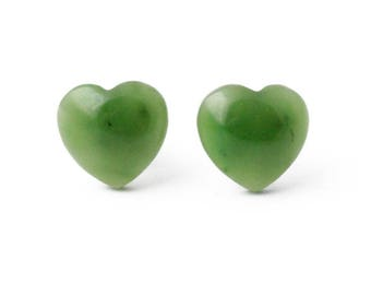 Canadian Nephrite Jade Heart Stud Earrings, 0575