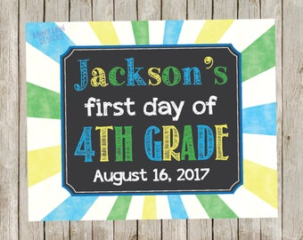 Custom Back to School Sign, 1st day of school chalkboard, Chalkboard School Sign, Digital, Printable, Photo Prop, Keepsake, Blue, Green