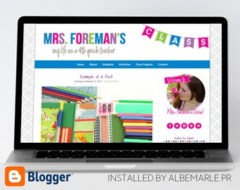Premade Blogger Template, Mobile Responsive Template, Teacher Blog Classroom Lessons - Mrs. Foreman Style #3