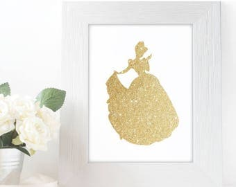 "Gold Glitter Cinderella Silhouette,  5x7"" 8x10"" incld., DIGITAL PRINTABLE File, Gold Sparkle Princess, Disney Princess Decor"