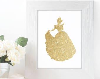 "Gold Glitter Cinderella Silhouette,  5x7"" 8x10"" incld., DIGITAL PRINTABLE File, Gold Sparkle Princess, Disney Princess Decor"