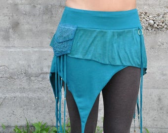 Miniskirt with Brass Pearls in turquoise