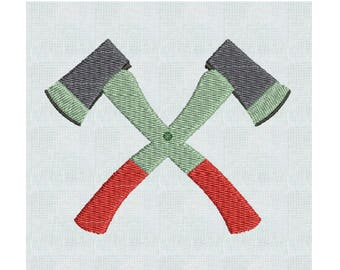 Instant Download Lumberjack Crossed Ax Embroidery Machine Designs  2 Sizes PES Format  Lumberjack Ax Woodland Designs