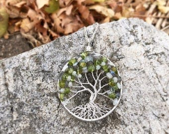 Peridot, labradorite and moonstone tree of life necklace in sale!