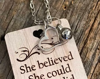 She Believed She Could So She Did Necklace, Group Gift Ideas, Group Discounts, Wedding Gifts, Laser Engraved, Bursting Barns