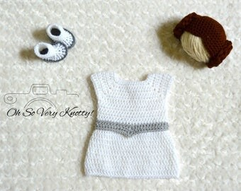 Handmade Princess Leia Inspired Baby Costume/ Crochet Princess Leia Wig, Dress & Booties/Star Wars Costume/Princess Photo Prop