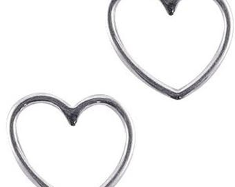DQ Metal pendant Heart, jewellery connector-2 pcs.-15 x 16 mm-Zamak (colour: Silver)