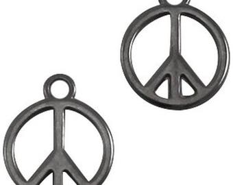 "DQ Metal pendant, charm ""peace""-1 piece-15 x 18.5 mm-Zamak-color selectable (color: silver grey)"