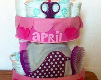"""My sweet heart"" girl diaper cake"
