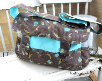 Large turquoise flower diaper bag, large diaper bag, large tote bag, large shoulder bag, messenger bag, eco-friendly material is recovered