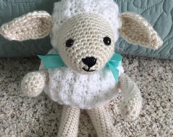 Crocheted, White and Beige Little Lamb Stuffed Amigurumi Toy