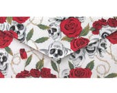 Day of the Dead Ivory and Red Skulls  Roses  Clutch Bag