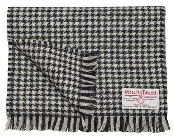 Harris Tweed Black Houndstooth Luxury Pure Neck Scarf