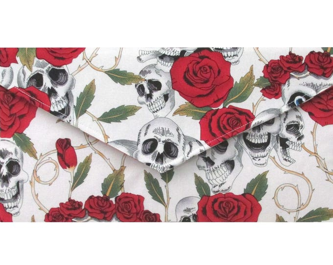 Day of the Dead Ivory and Red Skulls & Roses  Clutch Bag