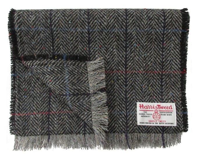 Harris Tweed Grey Herringbone with Flecks of Colour Pure Wool Neck Scarf