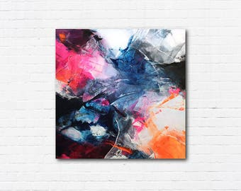 Abstract Painting - Blue, White, Pink, Orange