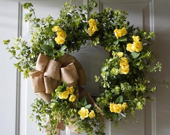 Yellow Roses Boxwood Wreath, Summer Wreath, Door Wreath