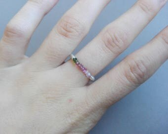 Pink and green Tourmaline ring, silver / / thin and minimalist