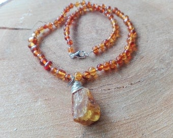 Necklace amber and silver solid nature jewelry