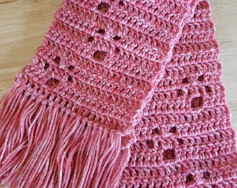 Crochet Paw Print Scarf - Coral, Child Size