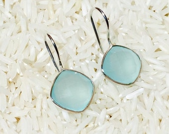 10% Chalcedony earrings in Sterling silver 92.5. Natural authentic stones perfectly matched . Sea green chalcedony faceted stones.