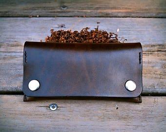 grap tabak donker bruin leder