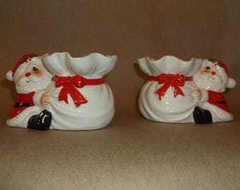 Vintage Fitz and Floyd Santa candlesticks