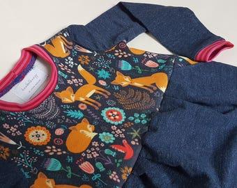 """Sweatkleidchen with tulip skirt """"denim-wood"""" gr. 92"""