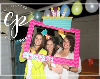 Birthday photo booth frame   Birthday photo booth prop   Cake photo prop   Selfie frame   Printed